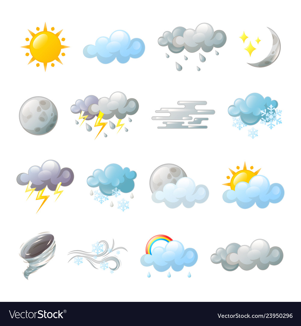 Icons for weather forecast or overcast cloud