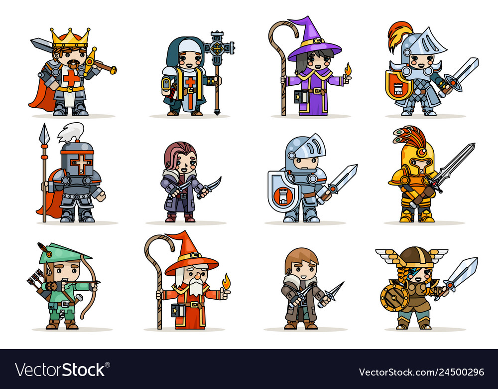 Lineart fantasy set rpg game heroes character