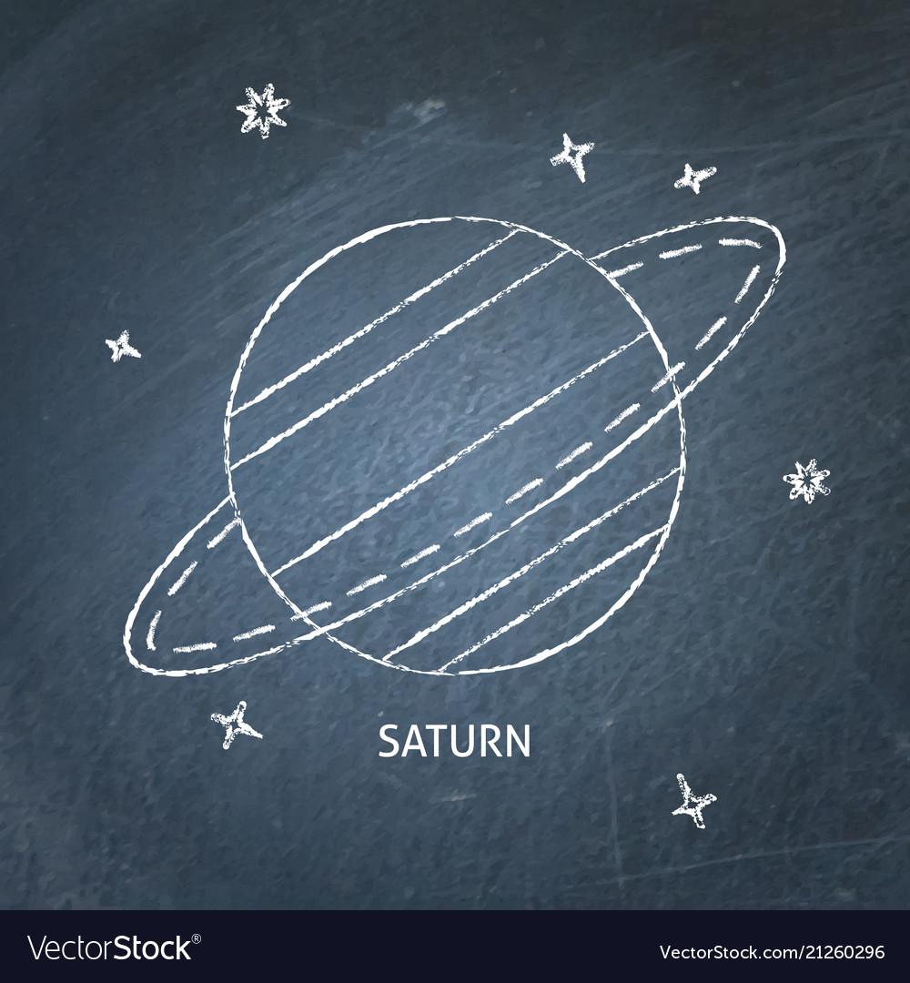 Planet saturn icon on chalkboard