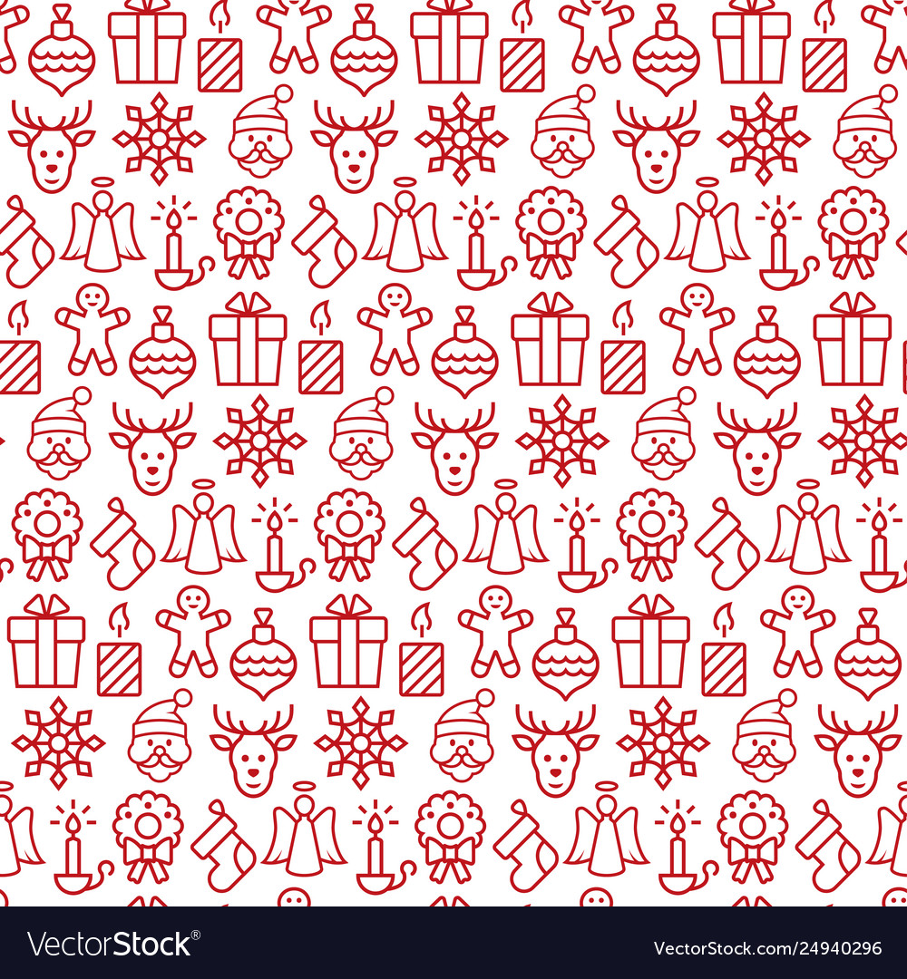Seamless pattern with icons christmas items