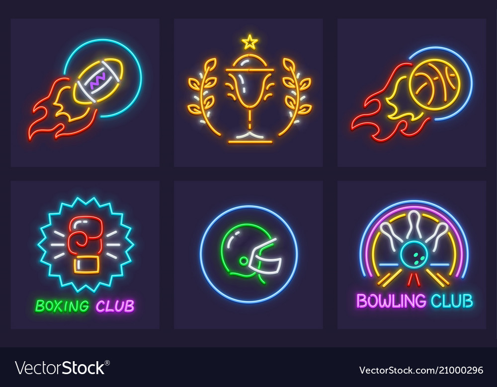 Set of sporting neon icons