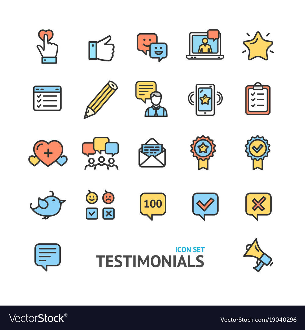 Testimonial feedback and review signs color thin