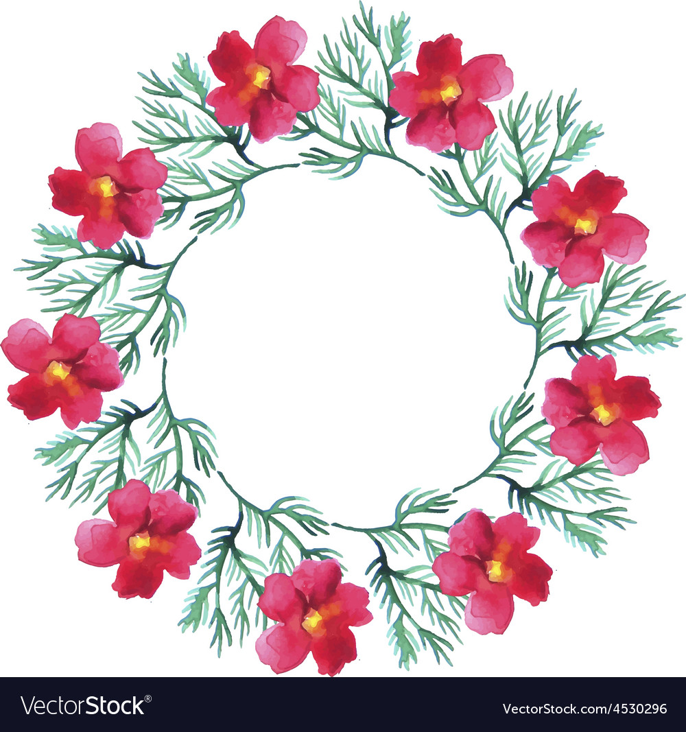 Watercolor Floral Wreath Flower Round Royalty Free Vector