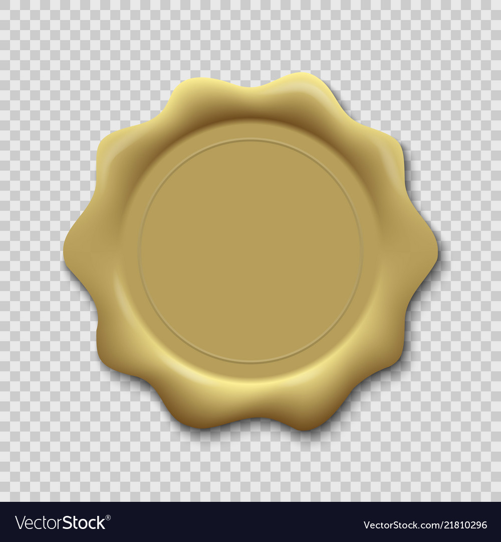 Wax seal on transparent background