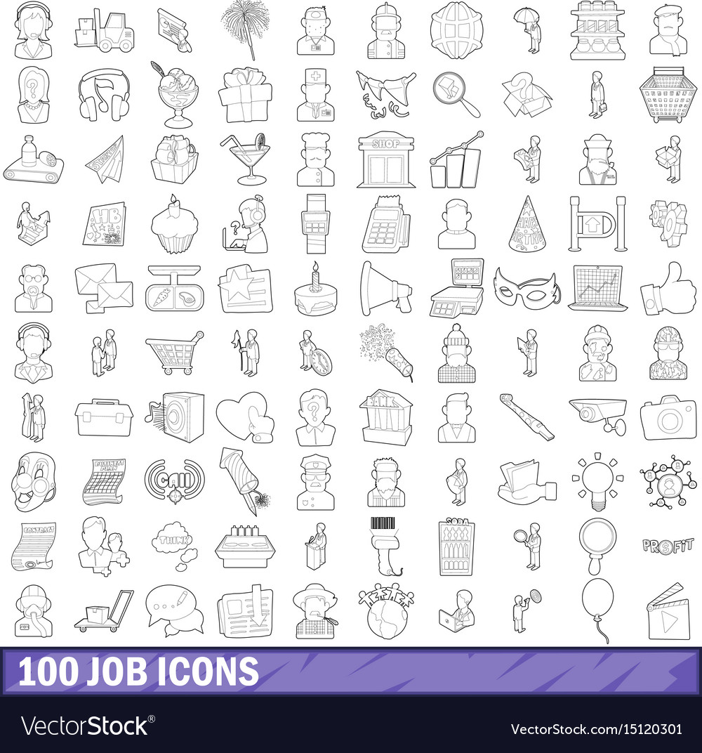 100 job icons set outline style