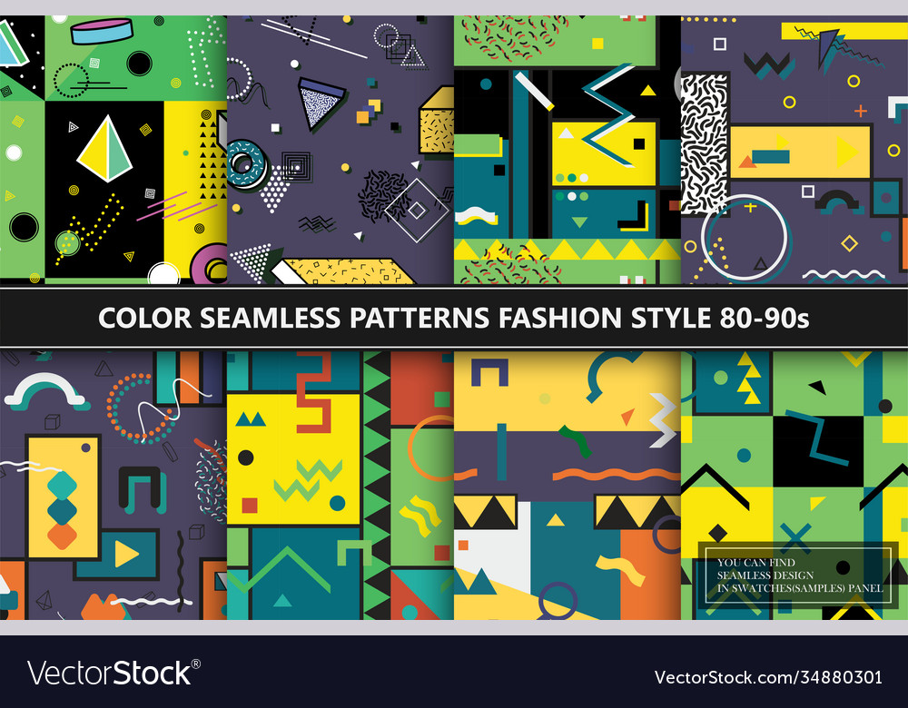 Collection colorful abstract seamless patterns