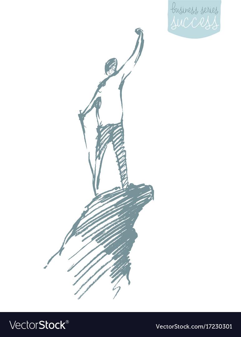 Drawn silhouette man top hill sketch