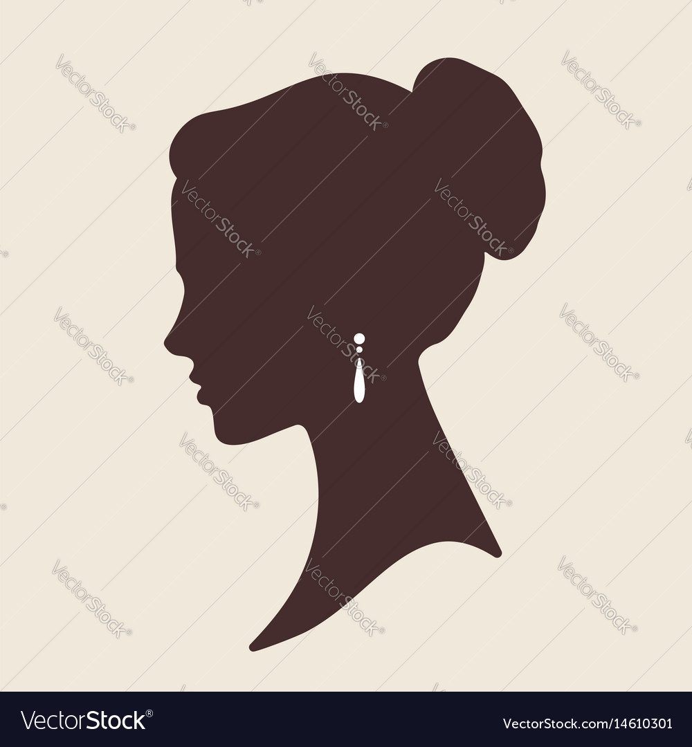 Elegant lady face silhouette vector image