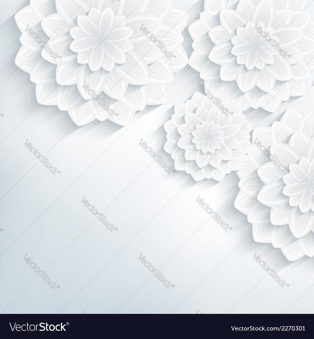 Floral abstract background with 3d flowers blossom
