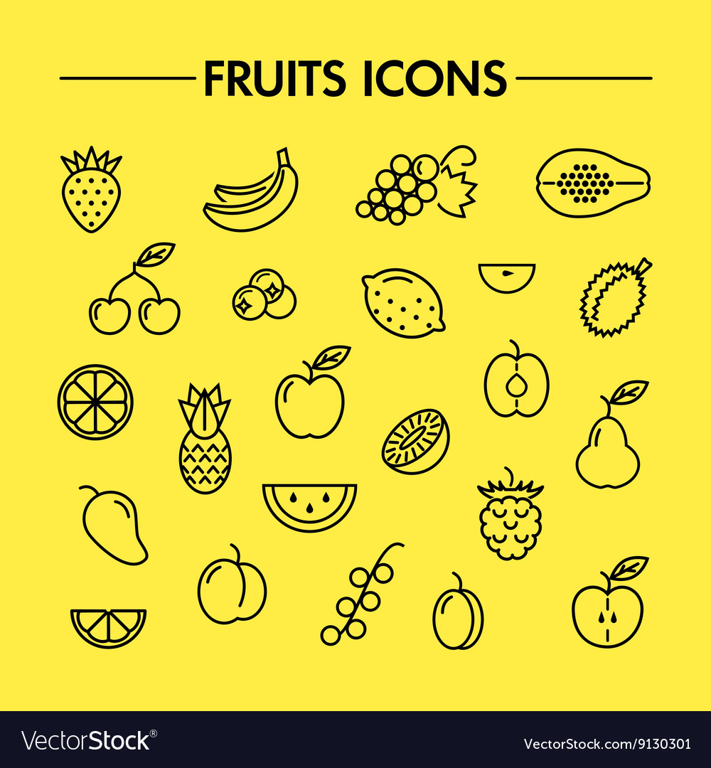 Fruits and berries line icons
