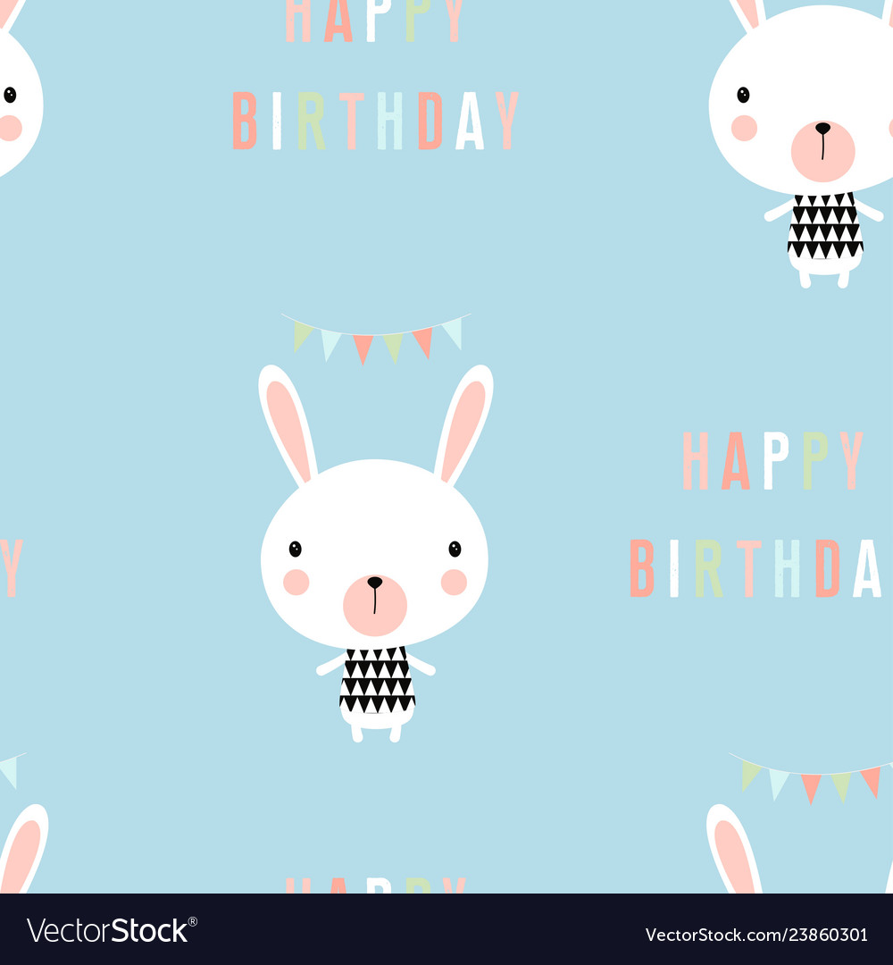 Greeting pattern with little rabbit
