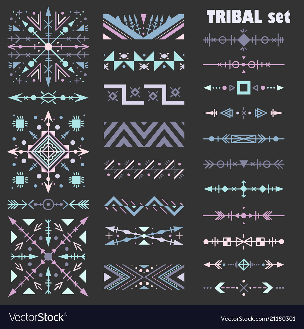 Pastel set of design elements in tribal style