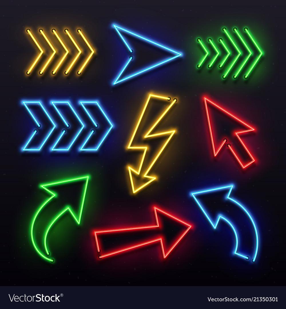 Realistic neon arrows night arrow sign lamp