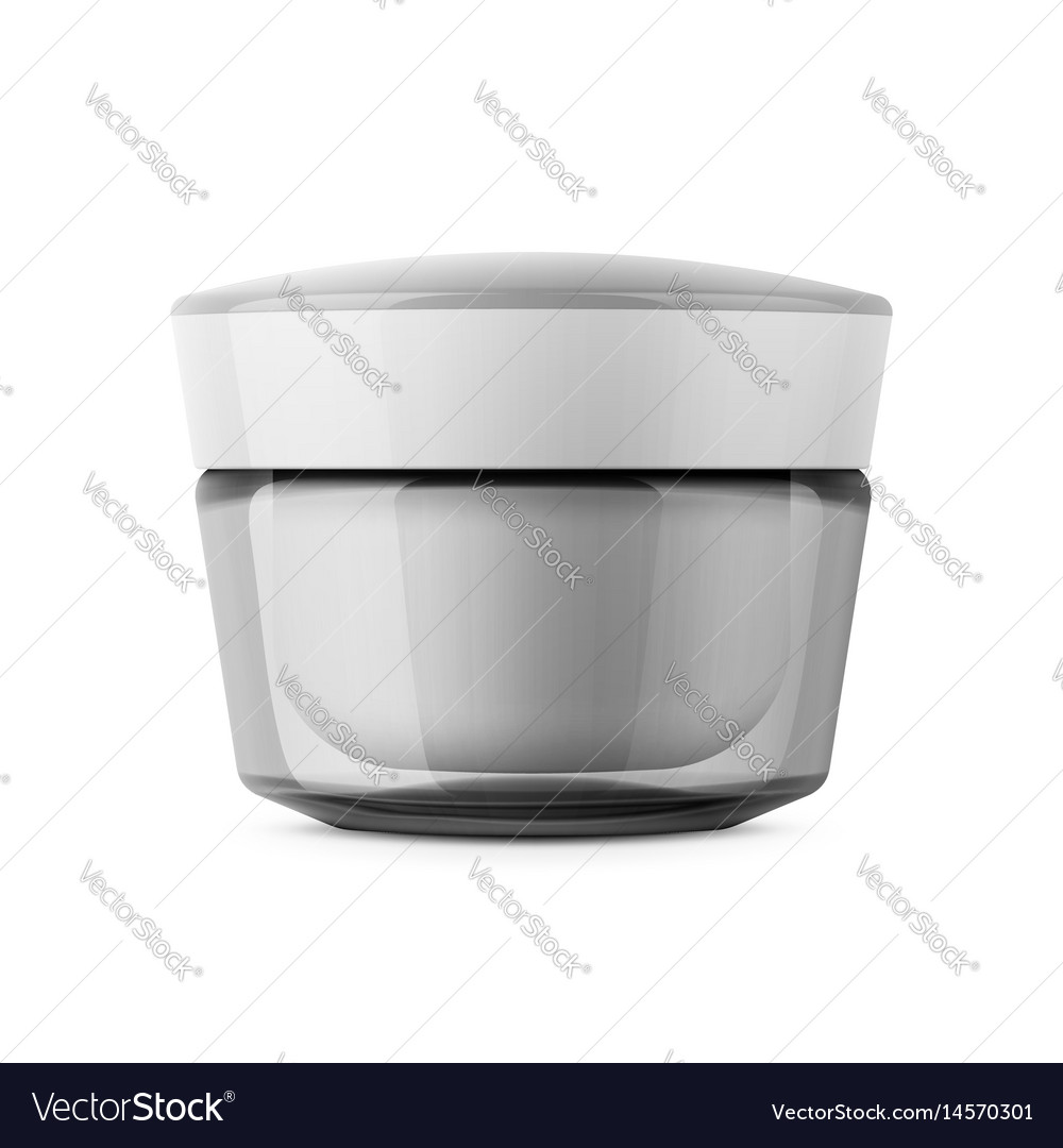 Round transparent cosmetic jar template Royalty Free Vector