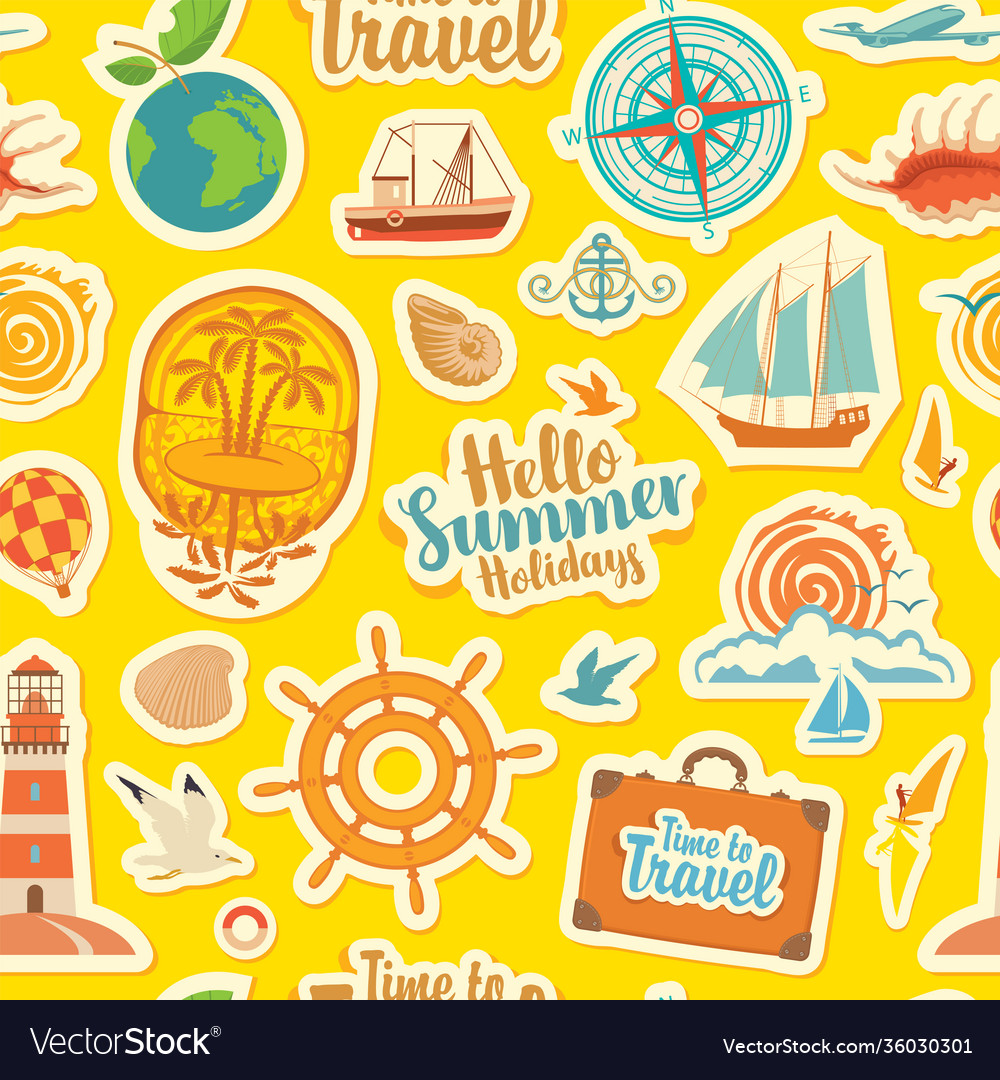 Seamless pattern with travel stickers or magnets
