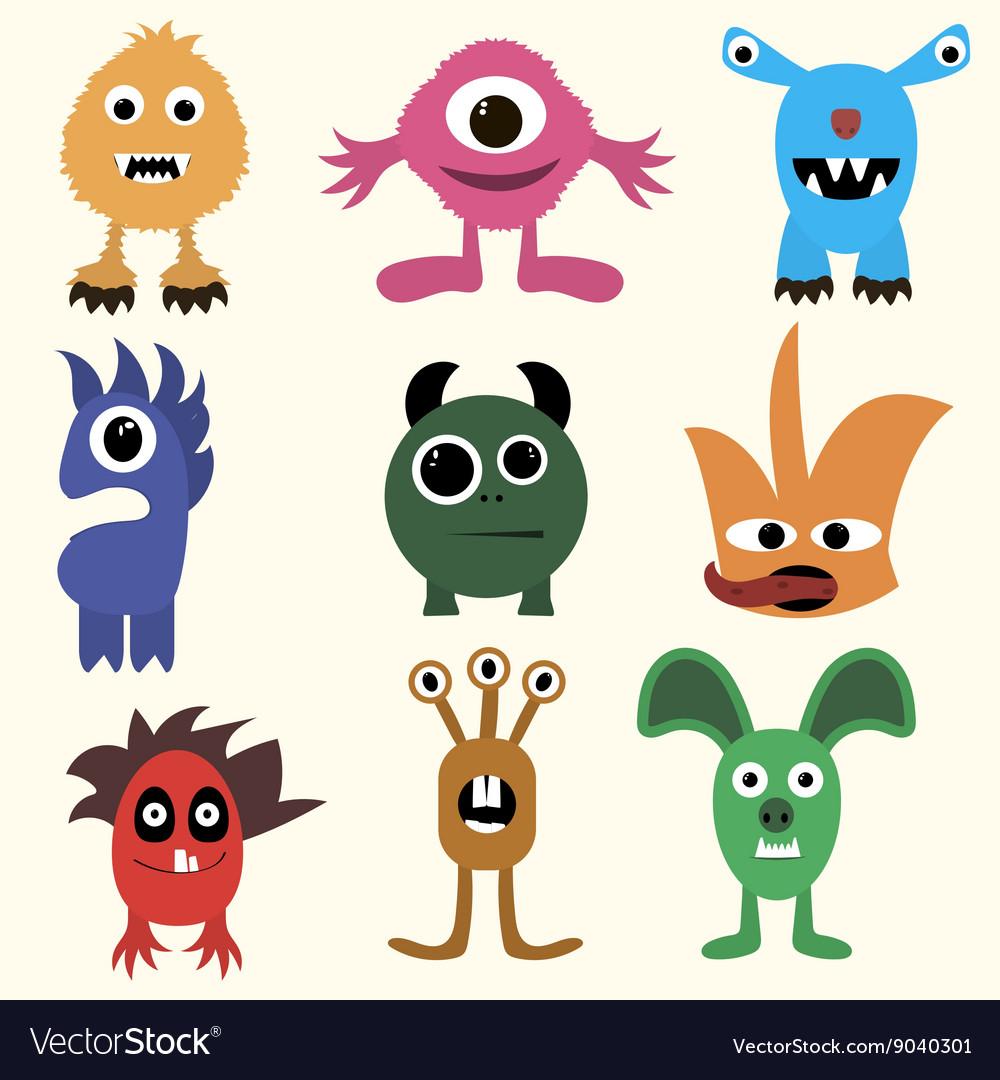 Set of cartoon cute character Monsters