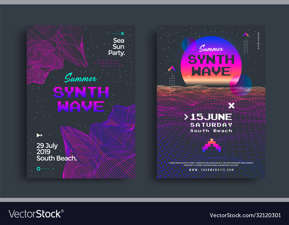 Summer synthwave party set posters with grid