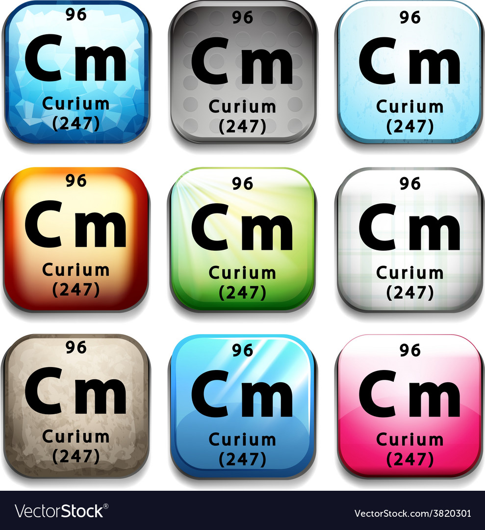 The Chemical Element Curium Royalty Free Vector Image