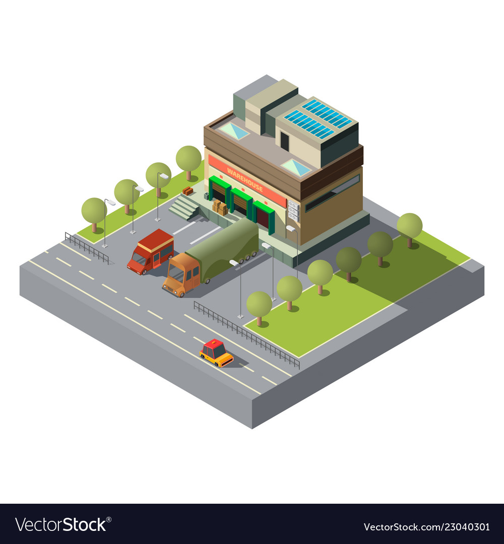 Warehouse with cargo cars 3d isometric