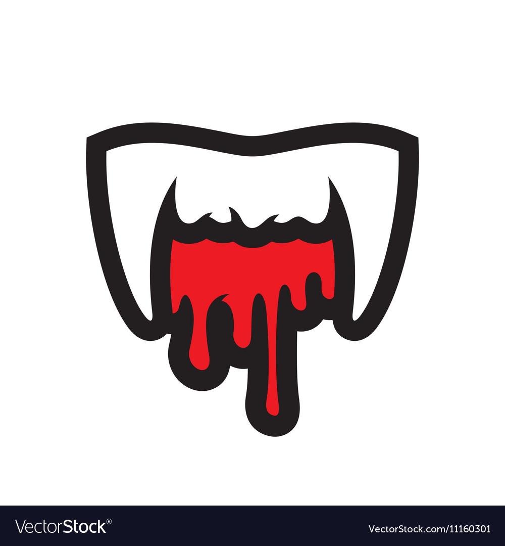White Vampire Teeth Cartoon vector image