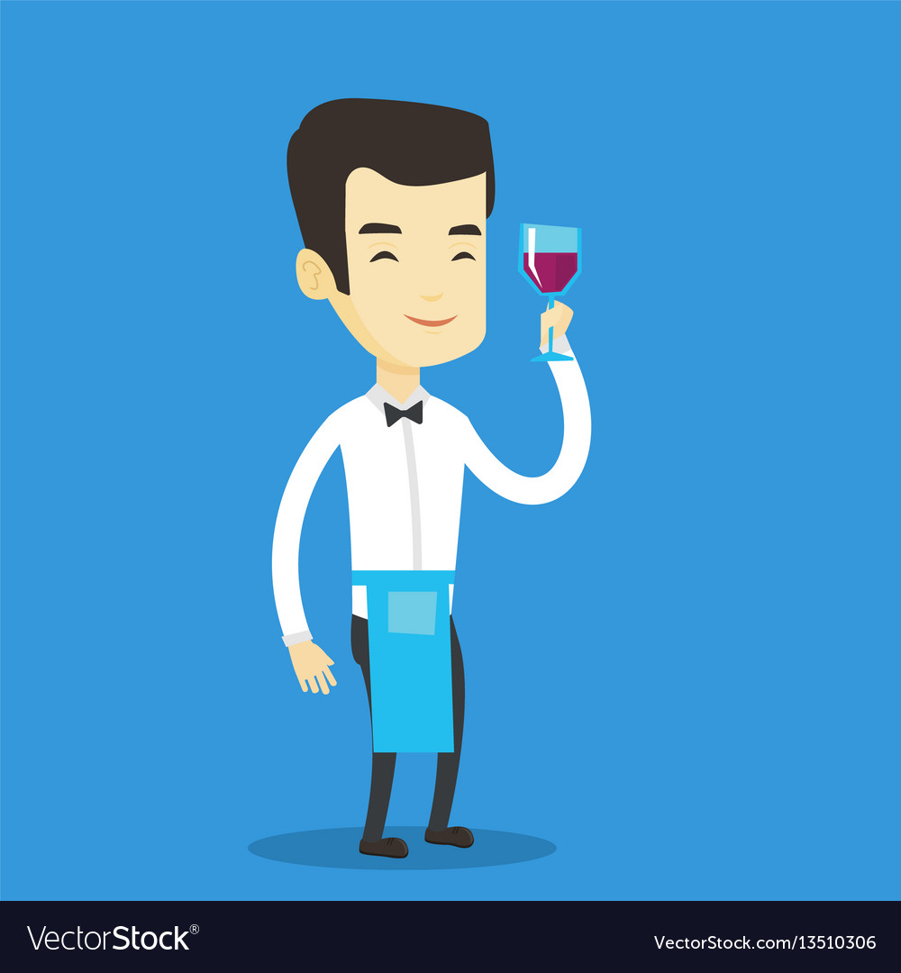 Bartender holding a glass of wine in hand