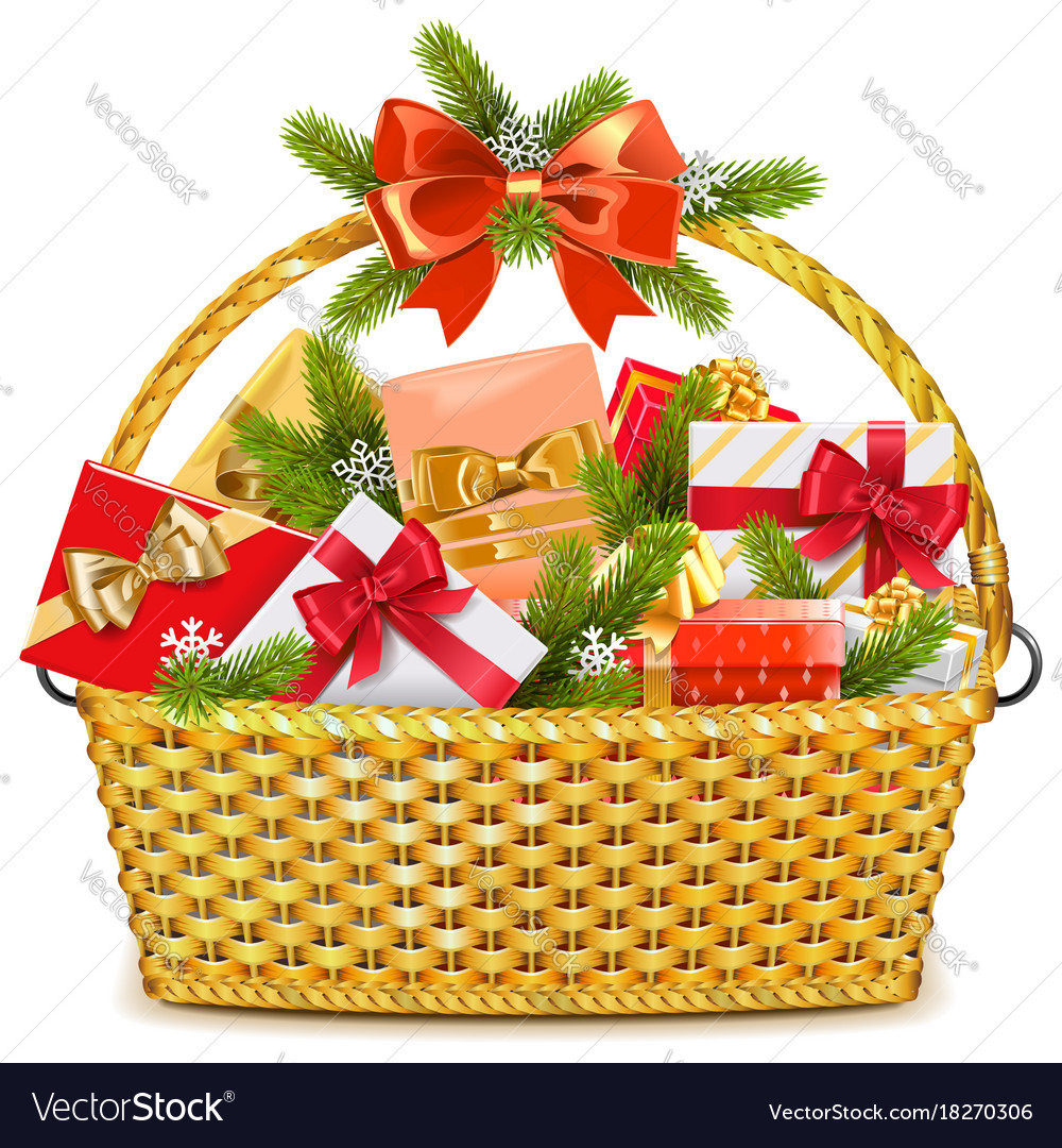 Basket with christmas gifts Royalty Free Vector Image