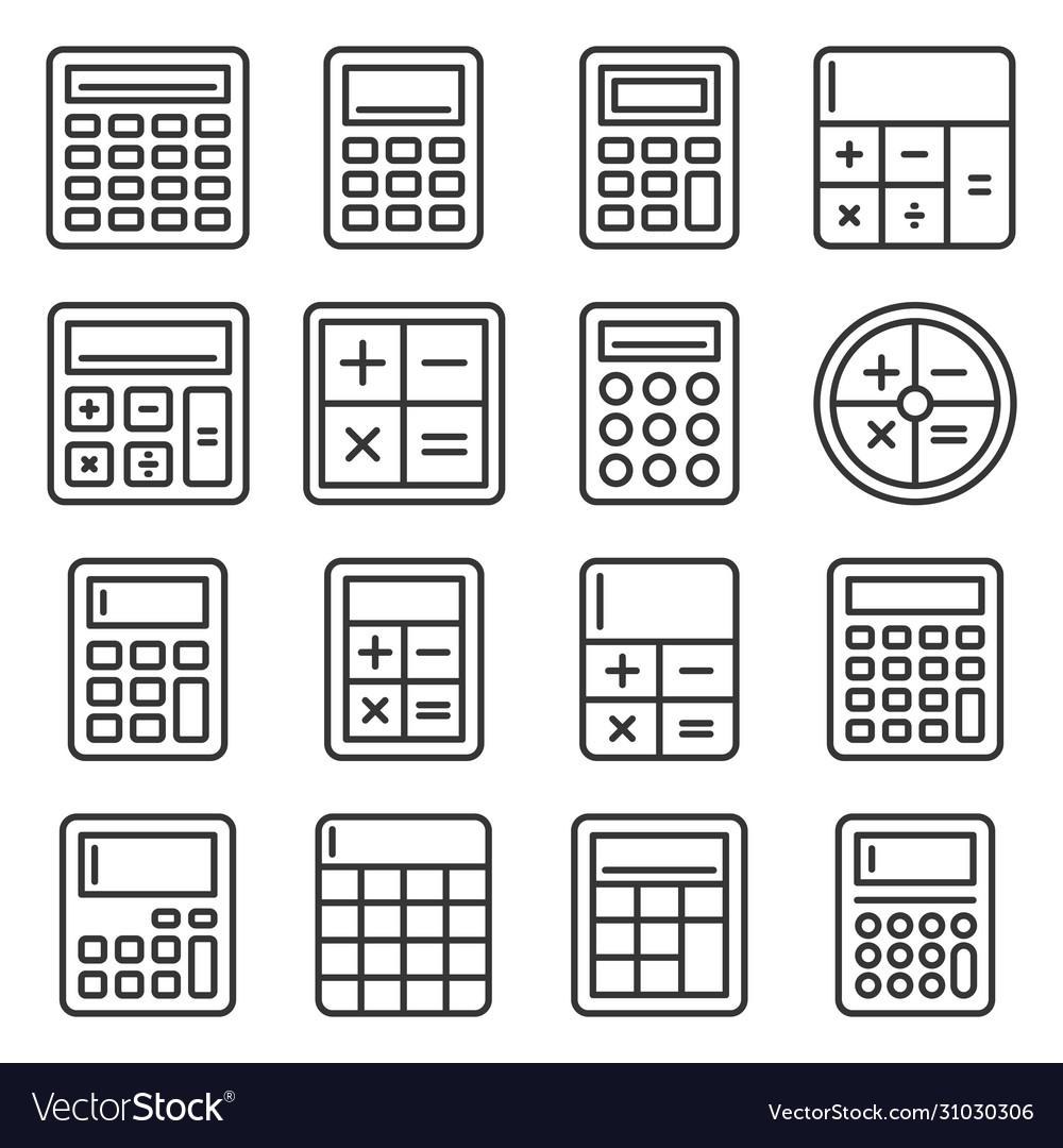 Calculator icons set on white background line