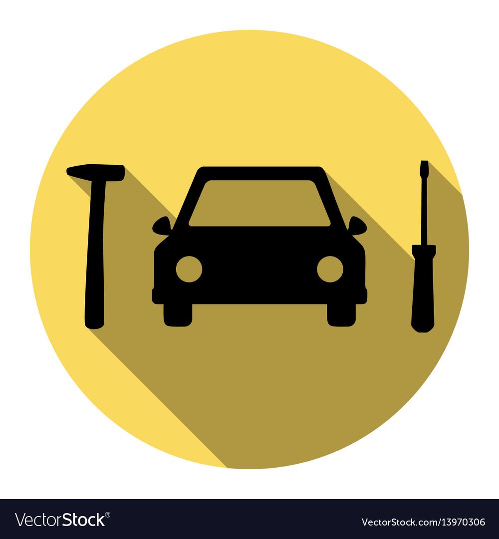 Car tire repair service sign flat black