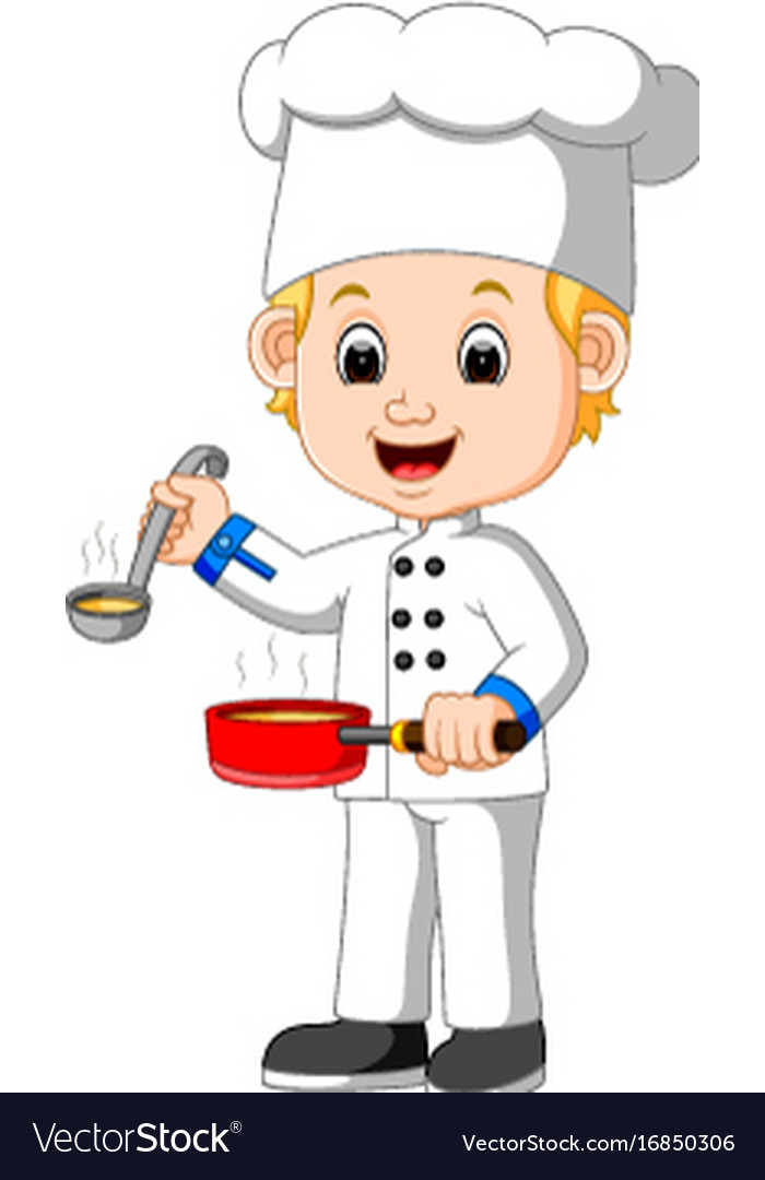 Cartoon chef with a ladle Royalty Free Vector Image