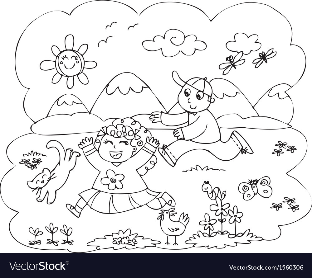 Children playing in countryside