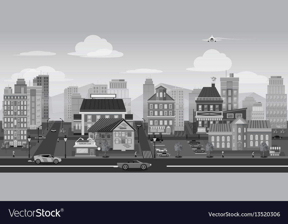 City background black and white landscape for game