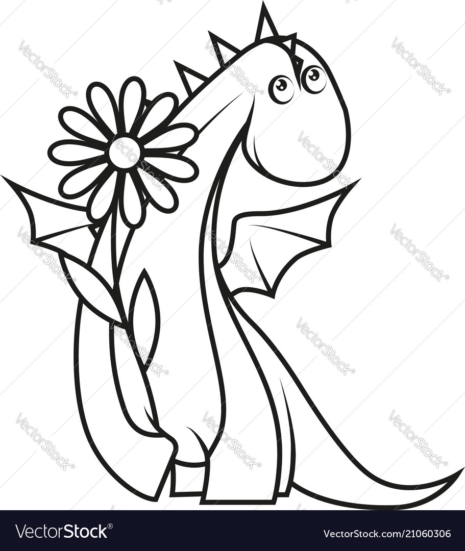 Coloring book cute little dragon holding flower