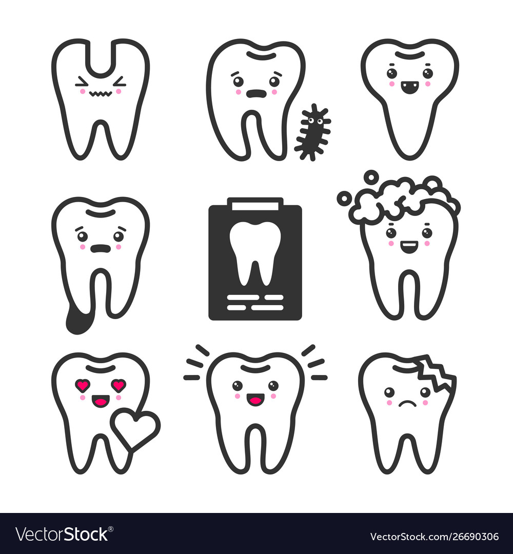 Cute Teeth Outline Set With Different Royalty Free Vector