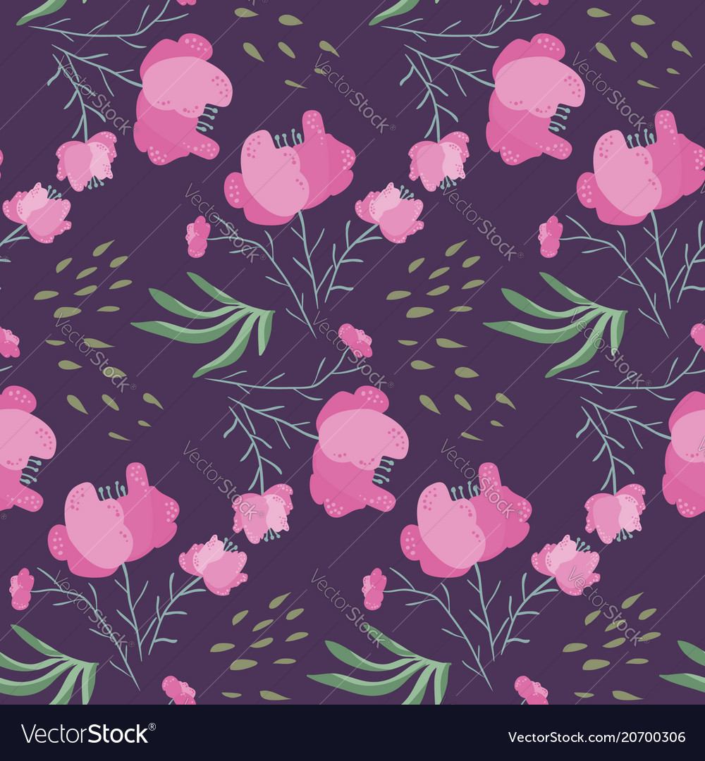 Dark night pattern with pink poppy flowers vector image
