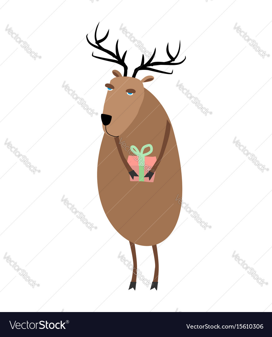 Deer christmas reindeer with gift xmas and new