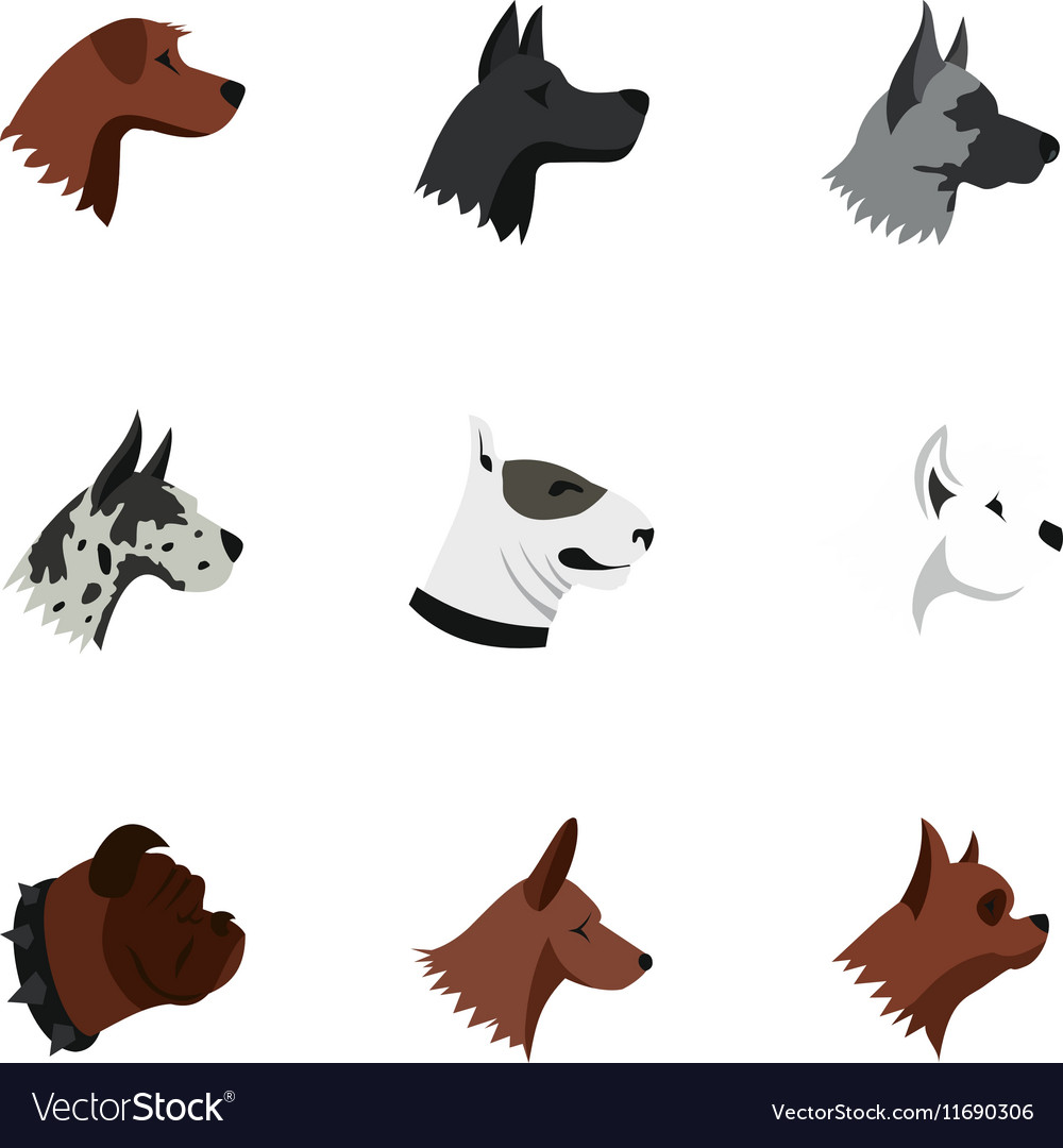 Dog icons set flat style