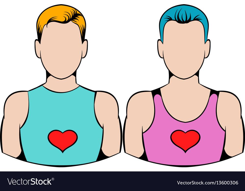 Gay couple icon icon cartoon vector image