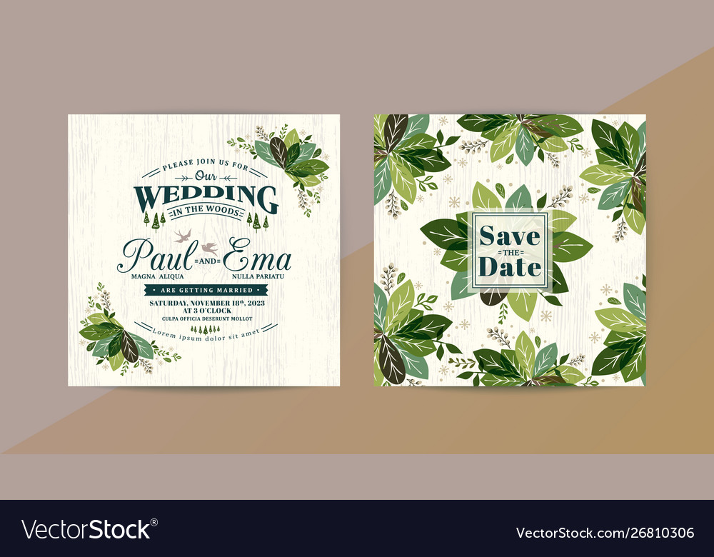 Green leaves wedding invitation card save