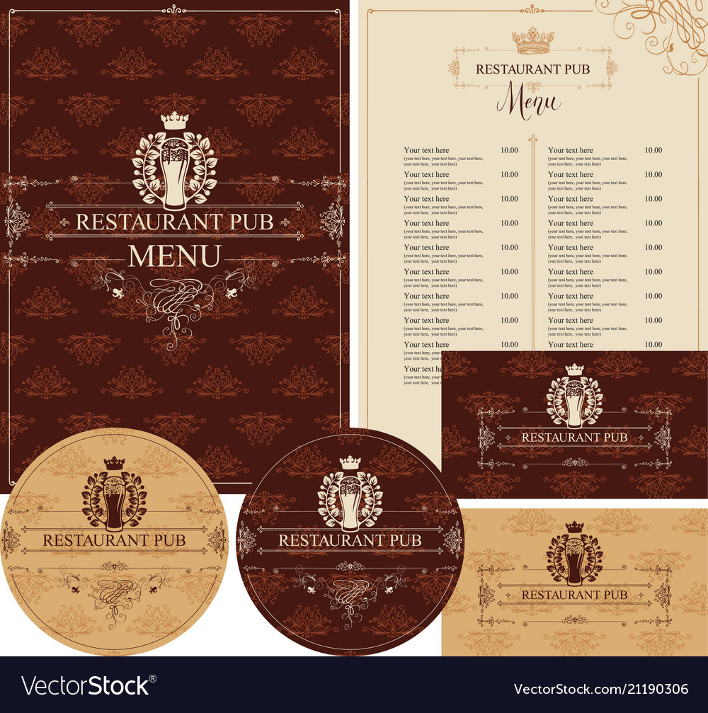 Set of design elements for restaurant pub
