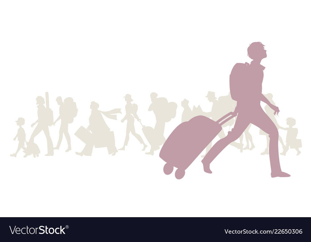 Silhouette of young man with backpack and trolley