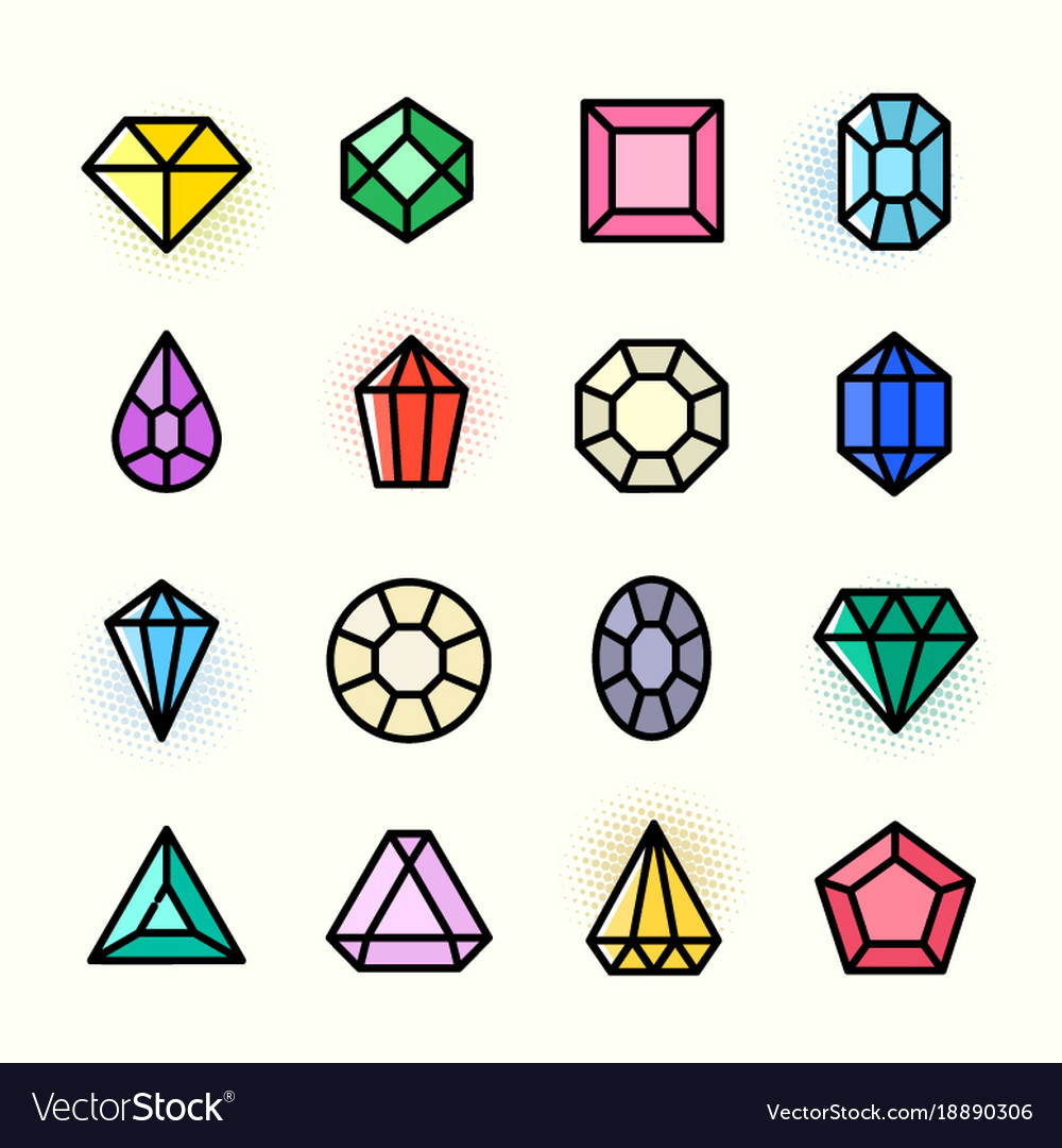 Thin line gems icons set