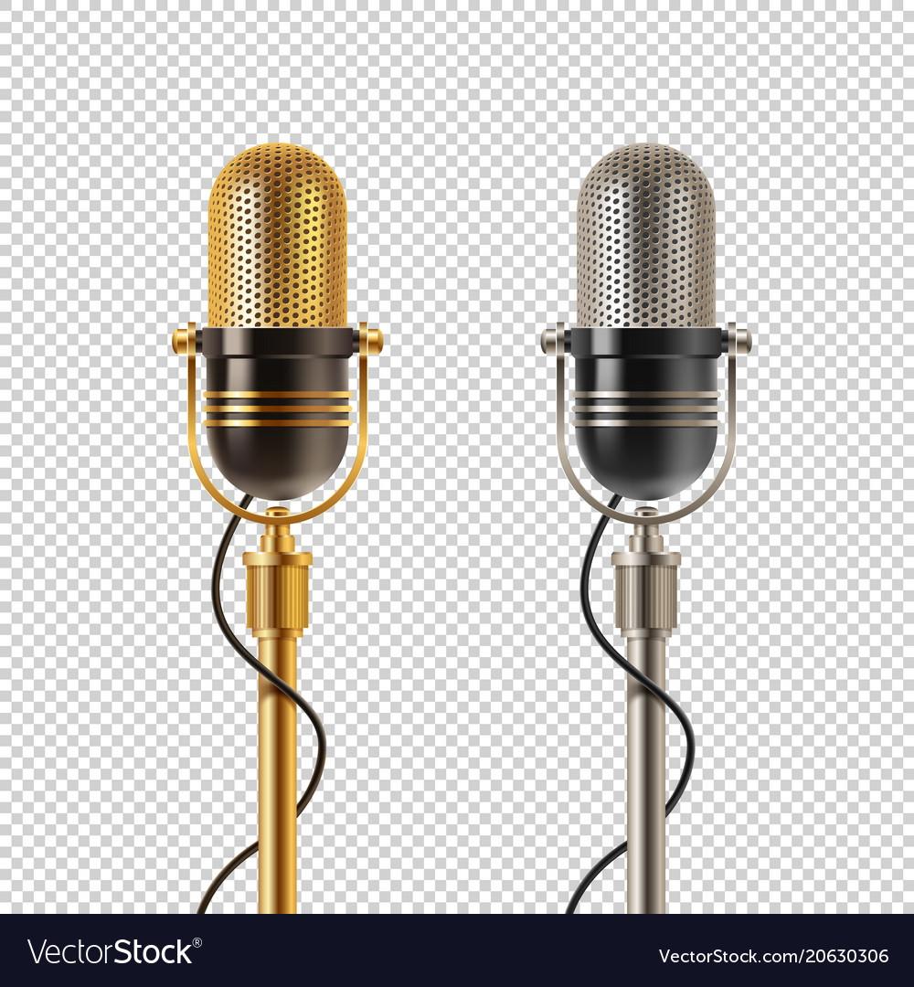 Two retro microphones vector image