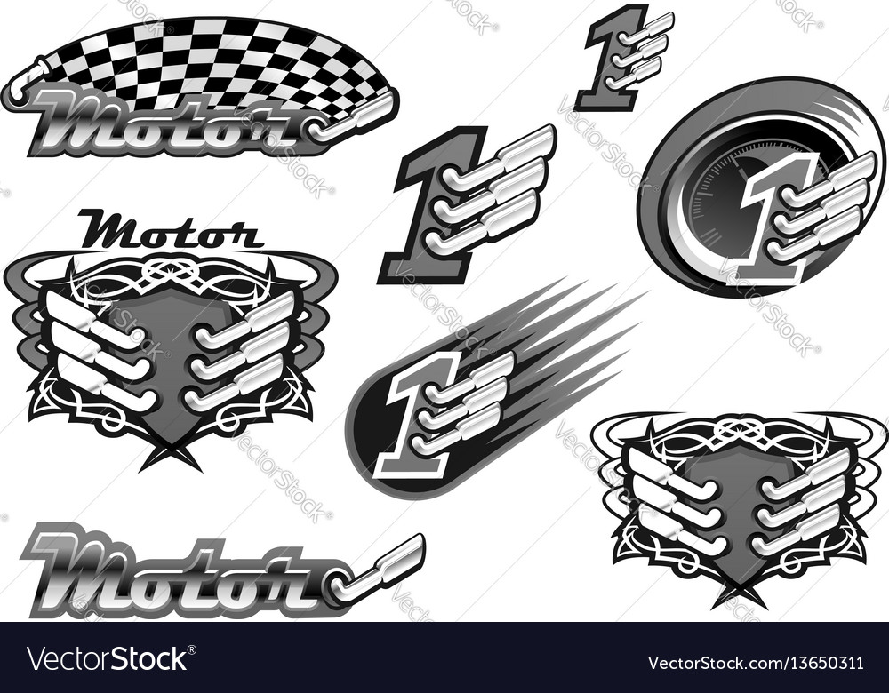 Car or motor racing icons vector image