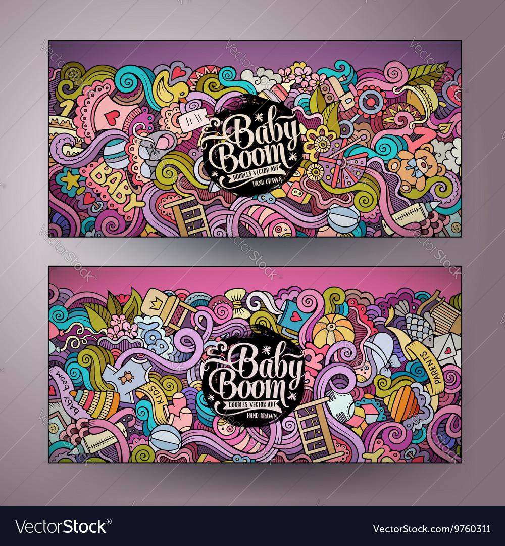 Cartoon doodles baby boom banners