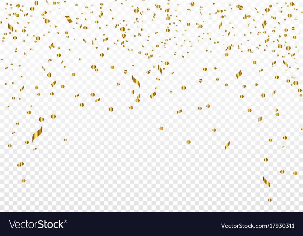 Celebration background template with gold confetti
