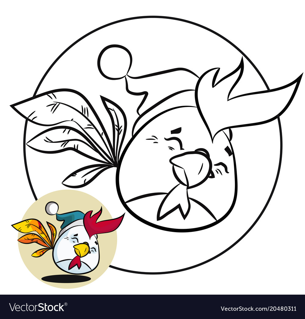 Christmas coloring page and new year fun bird