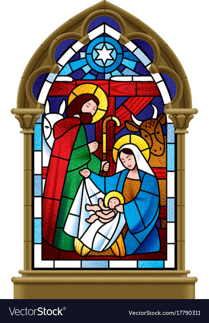 Christmas Stained Gl Window In Gothic Frame