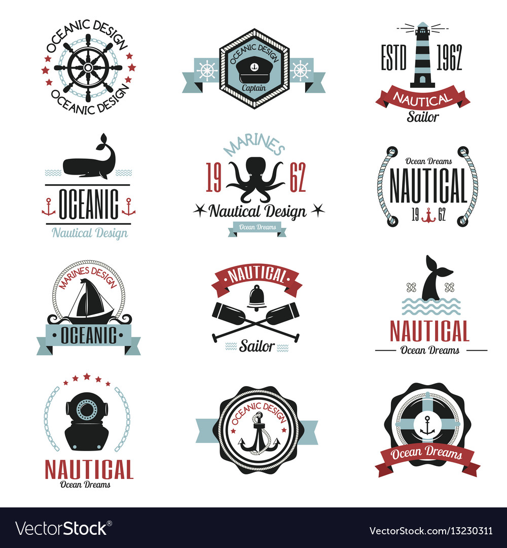 Fashion nautical logo sailing themed label or icon