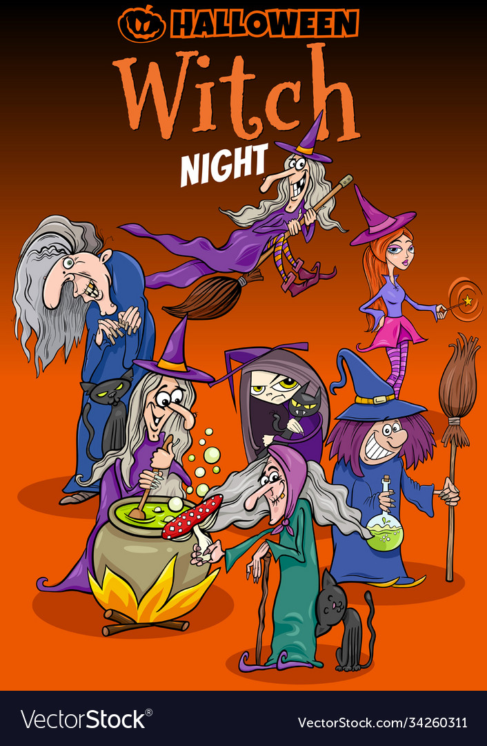 Halloween holiday cartoon poster or invitation