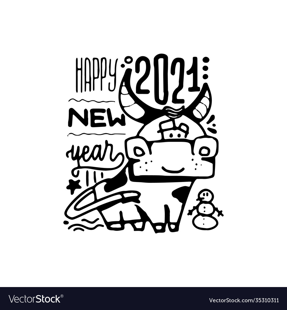 Happy new year poster year ox 2021